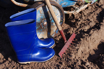 Rake, gumboots and cart in the field. Preparation for work in the field. Agricultural tools and work footwear