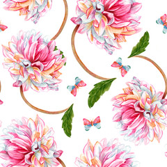 Seamless watercolor background pattern with dahlia flowers and backround