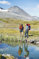 Female hikers in landscape