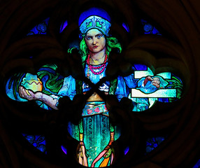 Stained Glass by Alphonse Mucha in Prague Cathedral