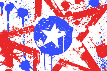 American Grunge Background with Stars and Splatters