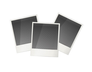 Three realistic polaroid photo frame with transparent place for image on white