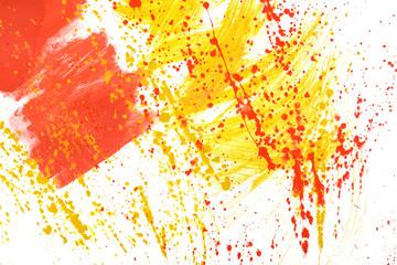 Yellow-red hand-painted gouache stroke daub texture