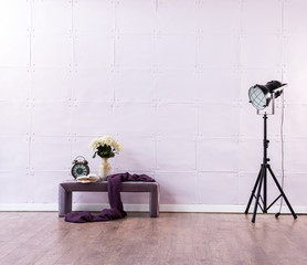 decorative black lamp with vase of flower modern bench soft pink wall decoration room