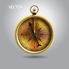 realistic image of vintage isolated compass.vector illustration.