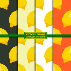 Vector set of seamless patterns with lemons.