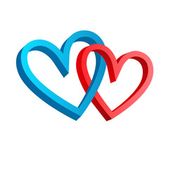 3D icon with his and her hearts. Blue and red isolated signs of hearts on white background. Two hearts Valentines day vector illustration. Vector element