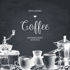 Vector design for cafe or shop with ink hand drawn coffee illustrations isolated on chalkboard. Vintage coffee template.