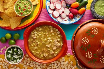 Green Pozole verde with blanco mote corn