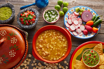 Green Pozole verde with blanco mote corn