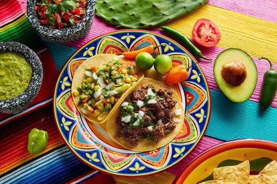 Mexican platillo tacos barbacoa and vegetarian