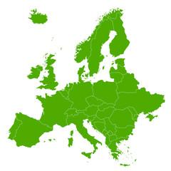 Fototapeta ヨーロッパ 地図 緑 アイコン obraz