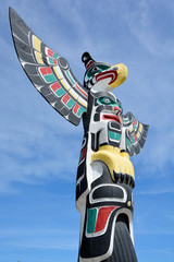 "Totem pole in Duncan's tourism slogan is ""The City of Totems"". The city has 80 totem poles around the entire town, which were erected in the late 1980s."