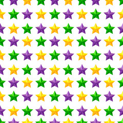 Seamless pattern with Mardi Gras Purple, Green and Yellow stars