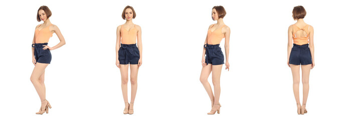 Beautiful model in shorts isolated on white