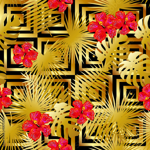 Seamless Tropical Gold Luxury Pattern With Palm Leaves And Exotic Hibiscus Flowers Vector Background Perfect