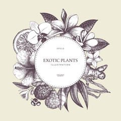 Vector graphic design with ink hand drawn tropical fruit, flowers, spice and leaves sketch. Vintage exotic plants background. Summer time template