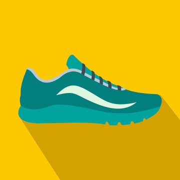 Blue sport shoes icon, flat style