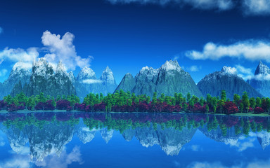3D landscape of mountains and trees