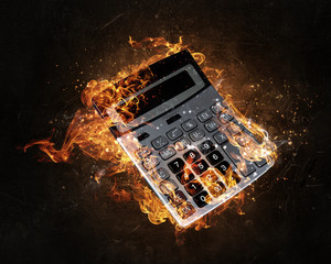 Calculator burning in fire