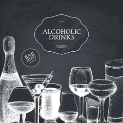 Vector design with hand drawn alcoholic drinks illustration. Vintage beverages sketch background. Retro drinks template for menu design isolated on chalkboard