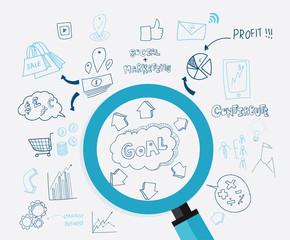 Digital Marketing Concept idea. Hand drawn vector illustration icons set