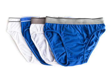 Men underwear used white and blue color on white background