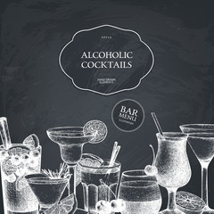 Vector design with hand drawn alcoholic cocktails illustration. Vintage beverages sketch background. Retro drinks template for menu design isolated on chalkboard