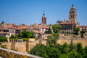 View of San Martin Church and Cathedral in Segovia, Spain