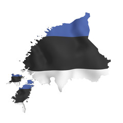 Silhouette of  Estonia map with flag