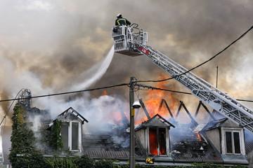 Fire man fighting a fire