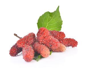 Fresh Mulberry on white