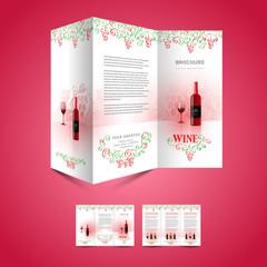 brochure design folder leaflet template wine red vine grape gree
