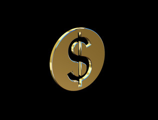 image of a dollar sign in the form of coins on a black background