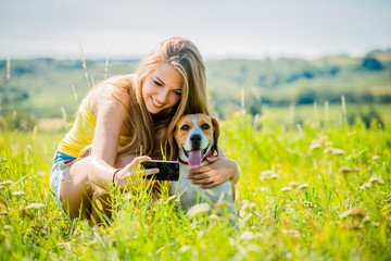 Dog and woman - happy life