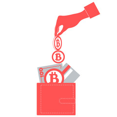 Stylized icon of a colored hand pouring bitcoins into wallet wit