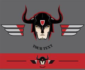 biker. warrior head with the horn