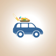 A car with a roof rack. Vector illustration