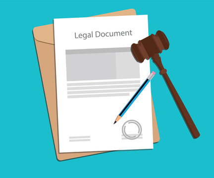 legal document paper illustration with gavel and pencil