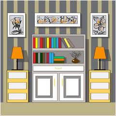 Furniture in the interior. Bookcases, dressers and lamps.Izometriya, vector graphics