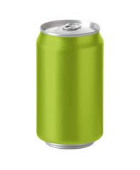 green aluminum can with space for design and clip path