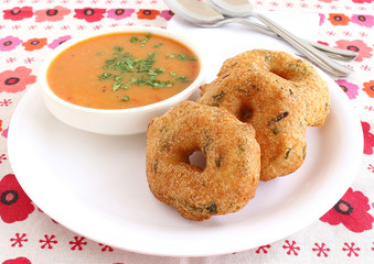 Indian food medu vada, also known as urad vada, a traditional and popular dish.