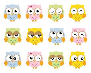 Set twelve nice simple owls in various moods cartoon style