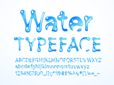 Vector water typeface