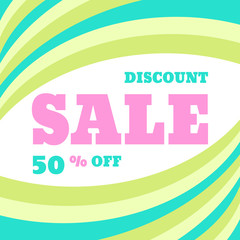 Sale discount 50% off vector concept banner. Creative advertising poster for promotion, shop, website, flyer and other creative projects. Sale vector layout in light colors.