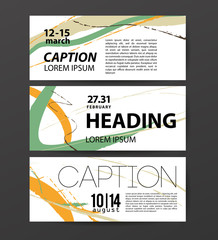 Abstract vector flat card design set. Business card,  party invitation, congratulation postcard. Line, stroke, floral element.
