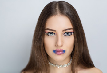 Woman with blue lips