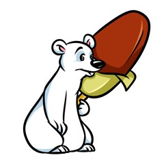 Polar bear ice cream popsicle cartoon illustration isolated image animal character
