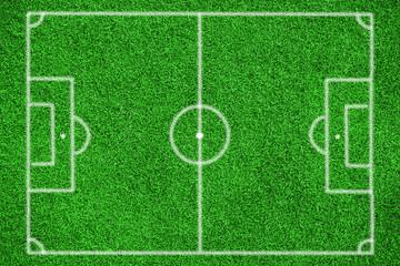 Fußballfeld von oben in der Draufsicht