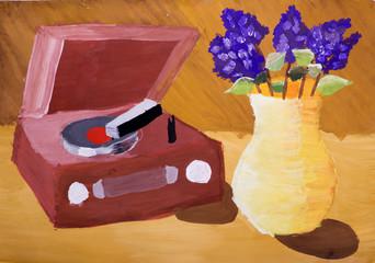 """Детский рисунок """"Натюрморт с проигрывателем пластинок и сиренью"""""""